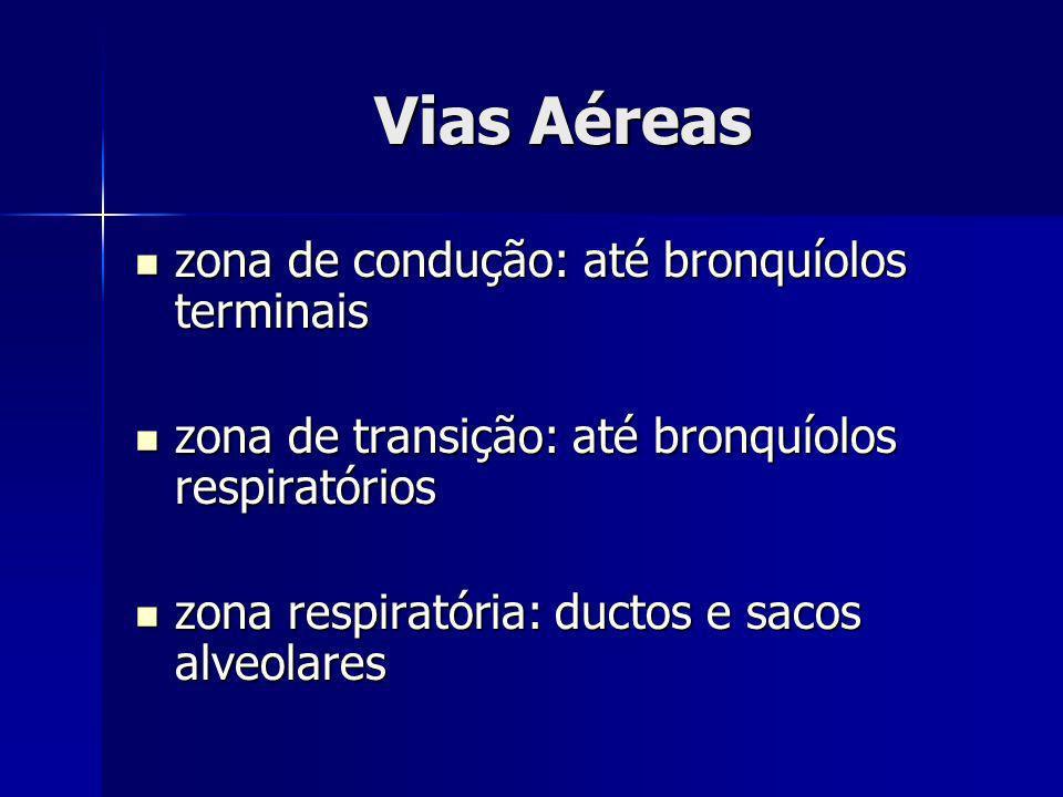 Vias Aéreas zona de condução: até bronquíolos terminais