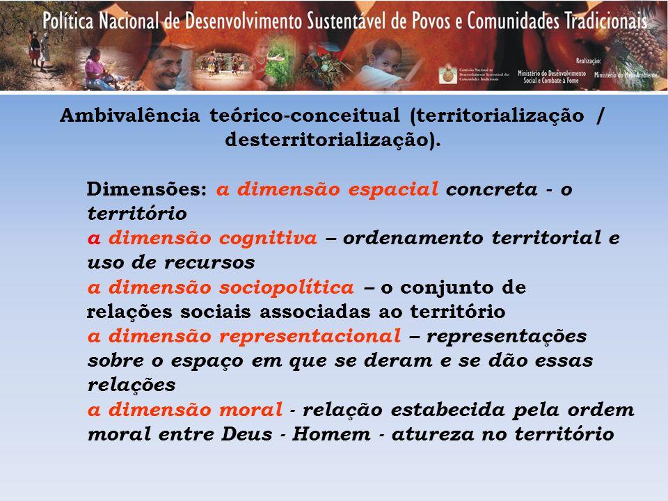 Ambivalência teórico-conceitual (territorialização / desterritorialização).