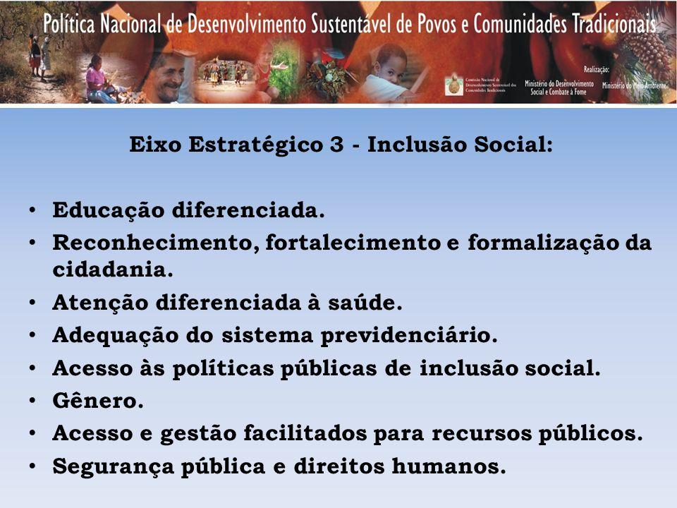 Eixo Estratégico 3 - Inclusão Social: