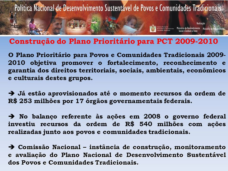 Construção do Plano Prioritário para PCT 2009-2010