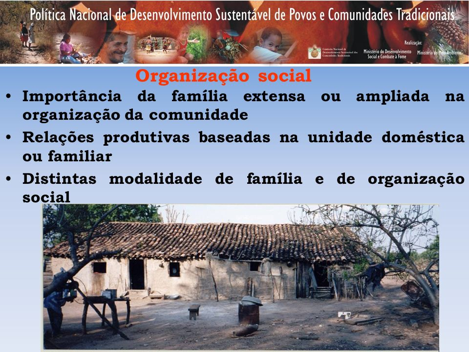 Organização social Importância da família extensa ou ampliada na organização da comunidade.