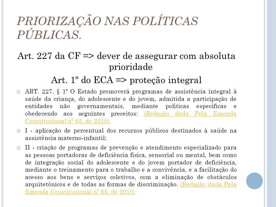 PRIORIZAÇÃO NAS POLÍTICAS PÚBLICAS.