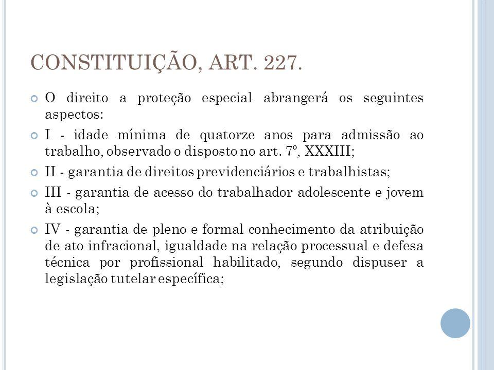 CONSTITUIÇÃO, ART. 227. O direito a proteção especial abrangerá os seguintes aspectos: