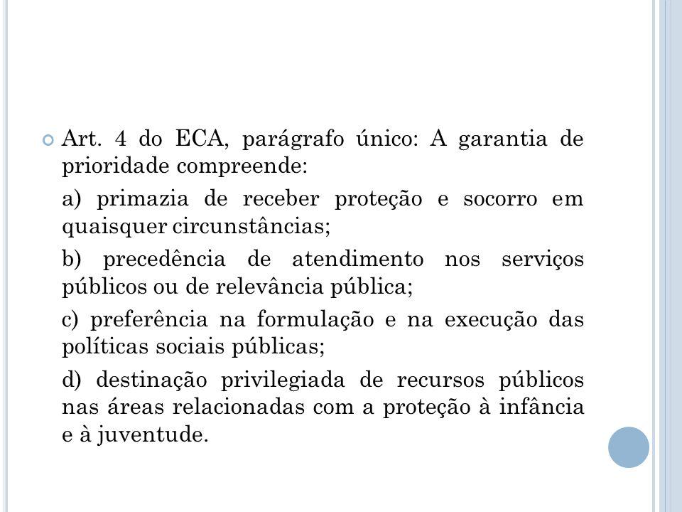 Art. 4 do ECA, parágrafo único: A garantia de prioridade compreende: