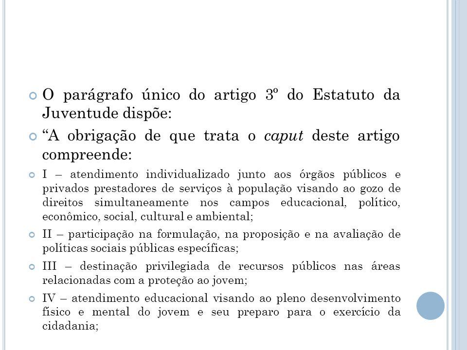 O parágrafo único do artigo 3º do Estatuto da Juventude dispõe: