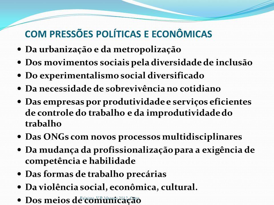 COM PRESSÕES POLÍTICAS E ECONÔMICAS