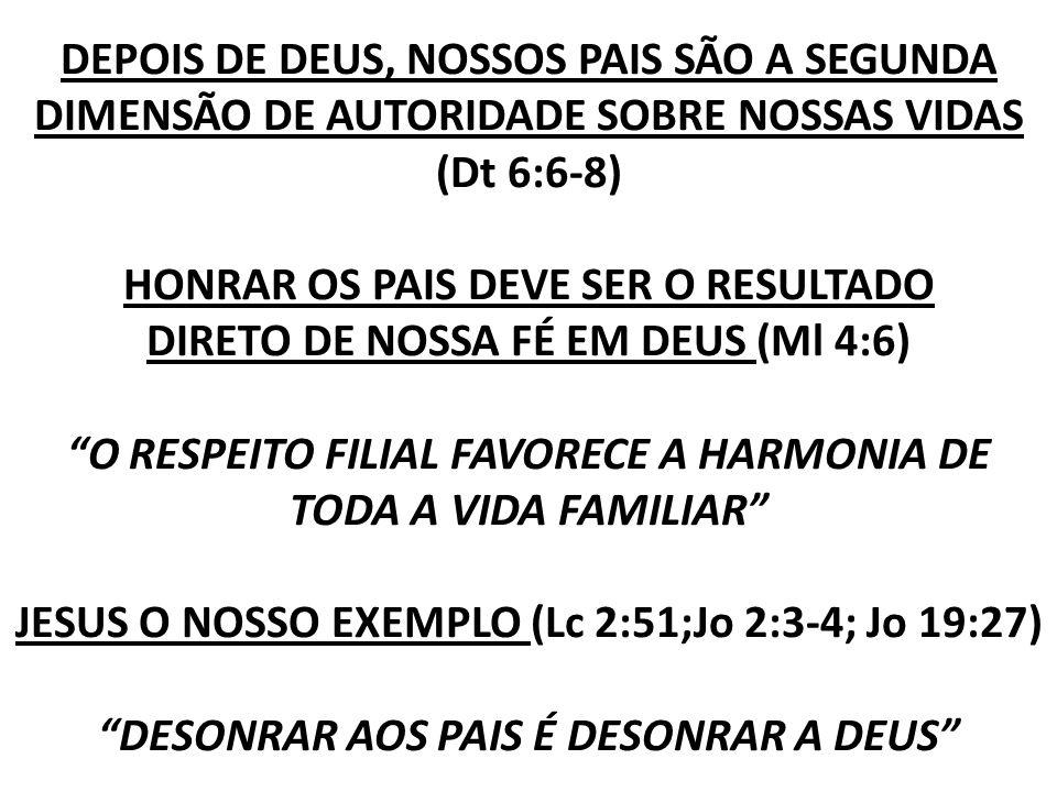 DEPOIS DE DEUS, NOSSOS PAIS SÃO A SEGUNDA DIMENSÃO DE AUTORIDADE SOBRE NOSSAS VIDAS (Dt 6:6-8) HONRAR OS PAIS DEVE SER O RESULTADO DIRETO DE NOSSA FÉ EM DEUS (Ml 4:6) O RESPEITO FILIAL FAVORECE A HARMONIA DE TODA A VIDA FAMILIAR JESUS O NOSSO EXEMPLO (Lc 2:51;Jo 2:3-4; Jo 19:27) DESONRAR AOS PAIS É DESONRAR A DEUS