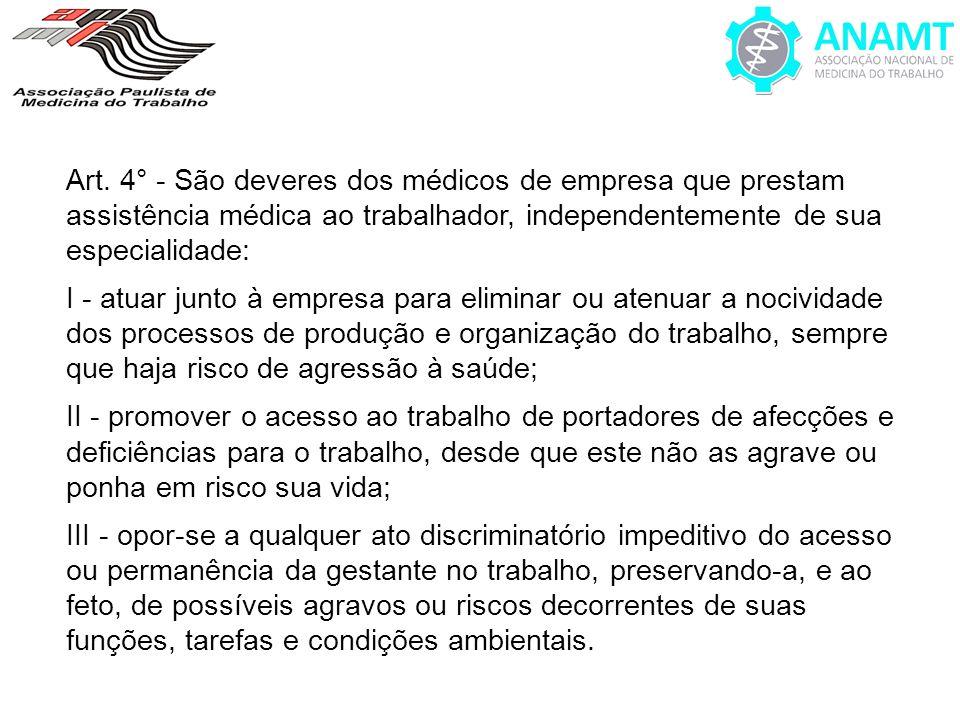 Art. 4° - São deveres dos médicos de empresa que prestam assistência médica ao trabalhador, independentemente de sua especialidade: