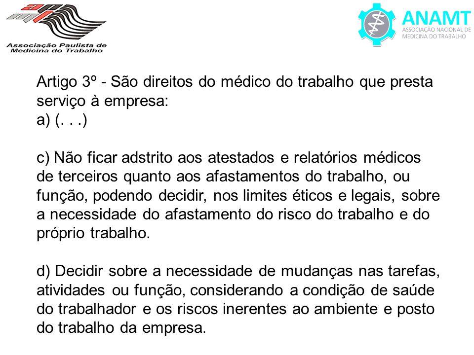 Artigo 3º - São direitos do médico do trabalho que presta serviço à empresa: