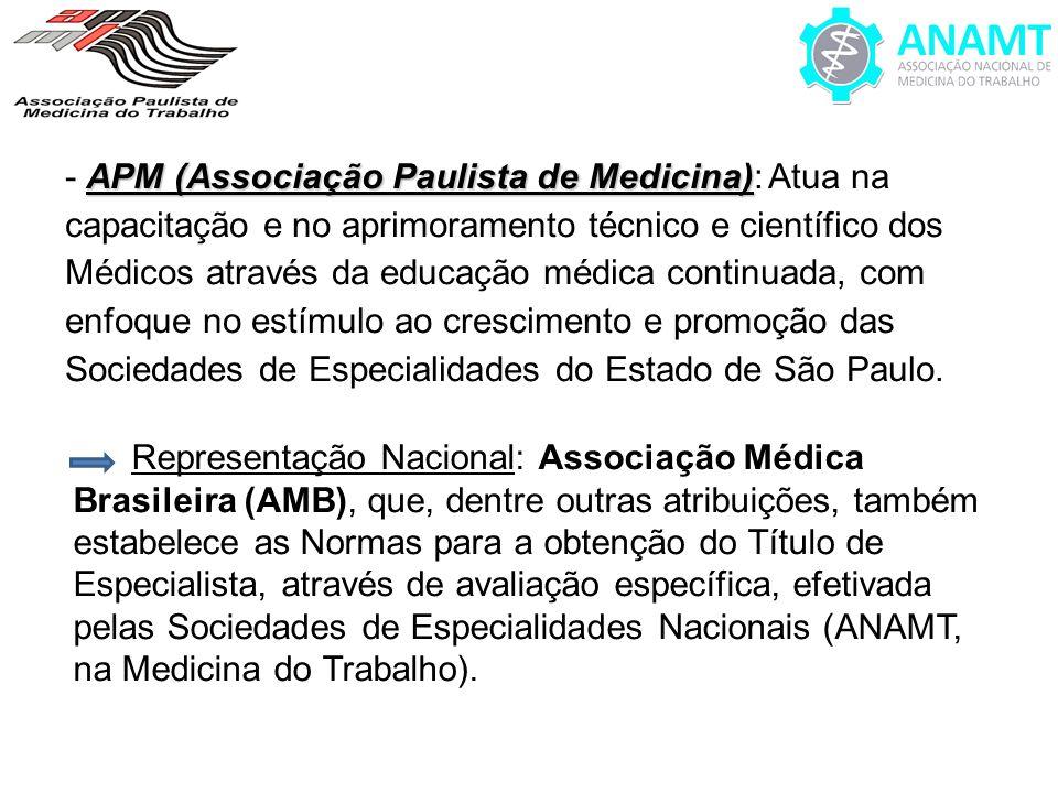 - APM (Associação Paulista de Medicina): Atua na capacitação e no aprimoramento técnico e científico dos Médicos através da educação médica continuada, com enfoque no estímulo ao crescimento e promoção das Sociedades de Especialidades do Estado de São Paulo.