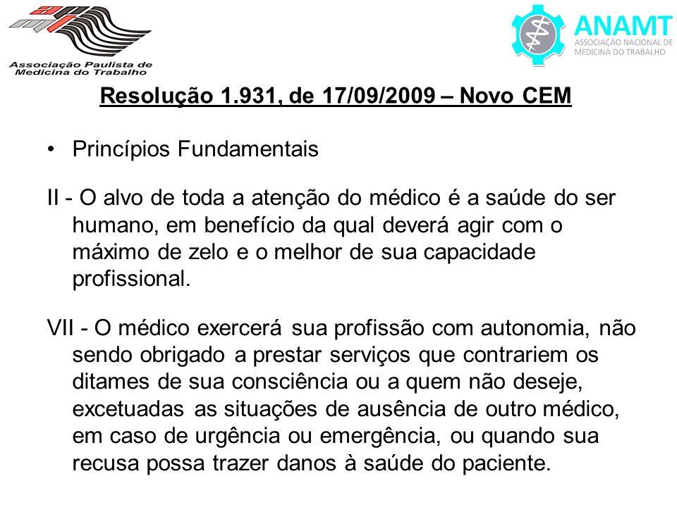 Resolução 1.931, de 17/09/2009 – Novo CEM