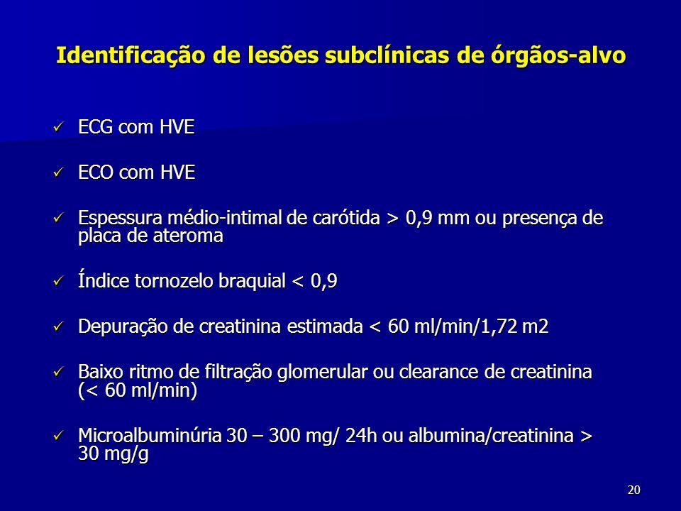 Identificação de lesões subclínicas de órgãos-alvo