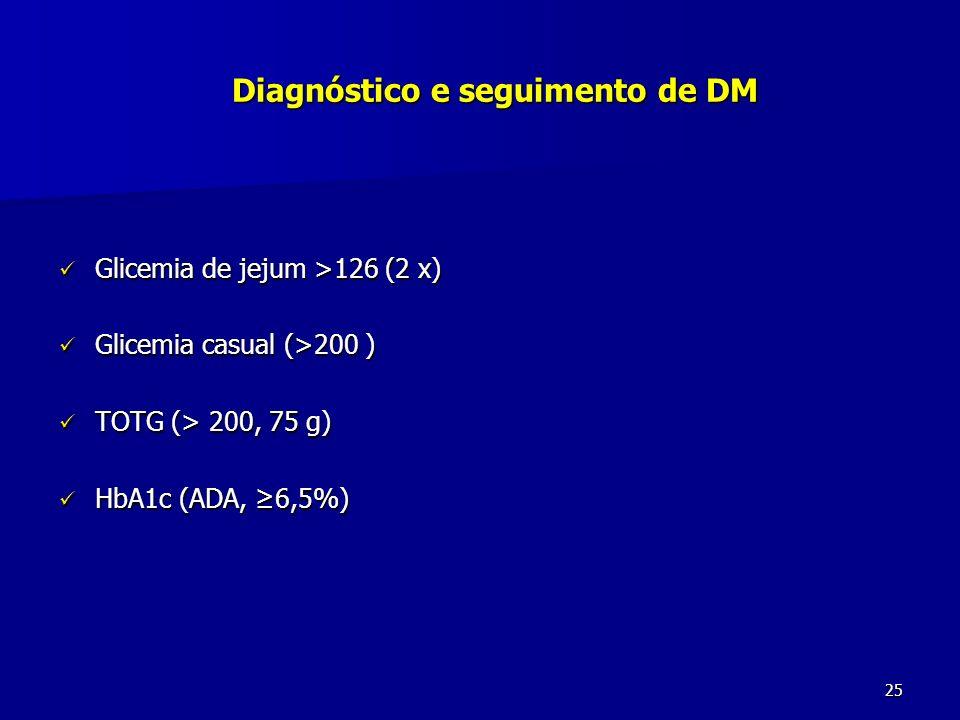 Diagnóstico e seguimento de DM