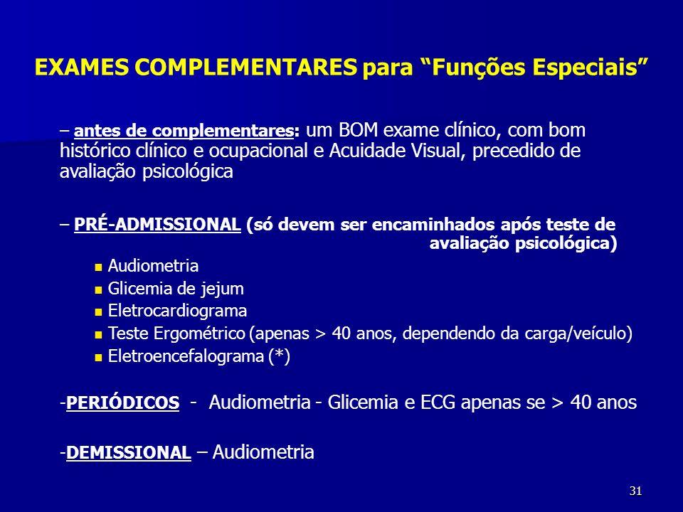EXAMES COMPLEMENTARES para Funções Especiais