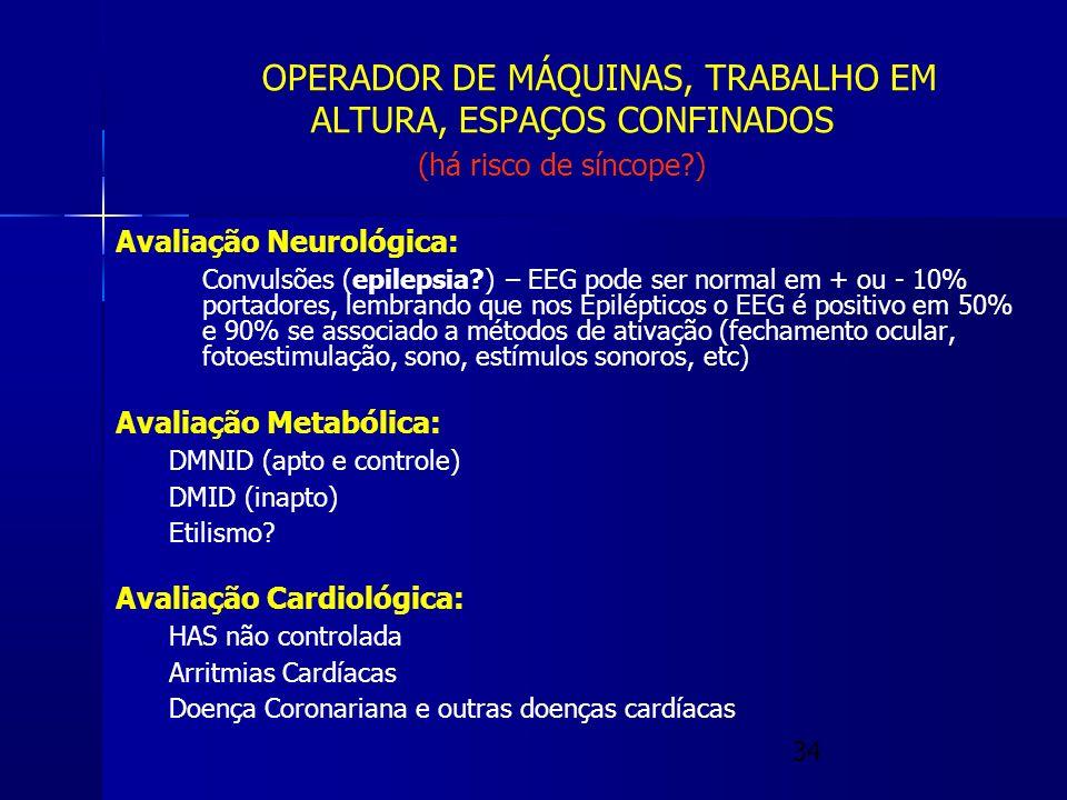 OPERADOR DE MÁQUINAS, TRABALHO EM. ALTURA, ESPAÇOS CONFINADOS