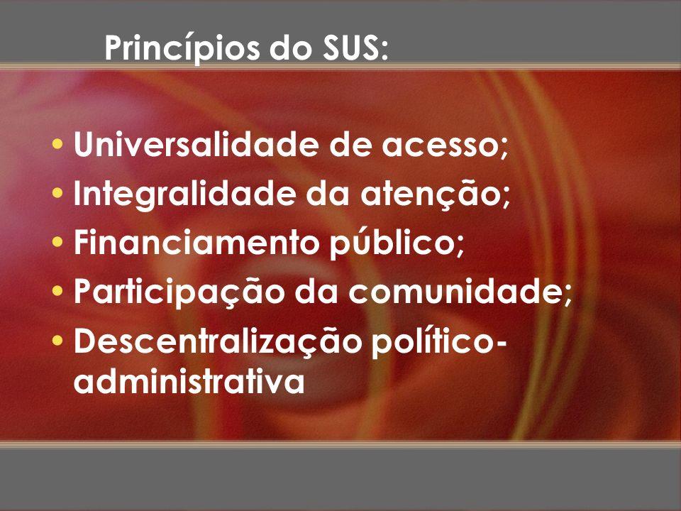 Princípios do SUS:Universalidade de acesso; Integralidade da atenção; Financiamento público; Participação da comunidade;