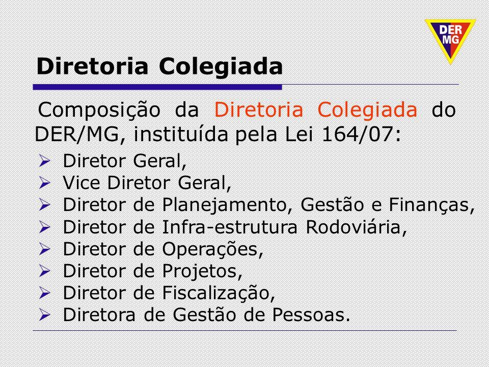 Diretoria Colegiada Composição da Diretoria Colegiada do DER/MG, instituída pela Lei 164/07: Diretor Geral,