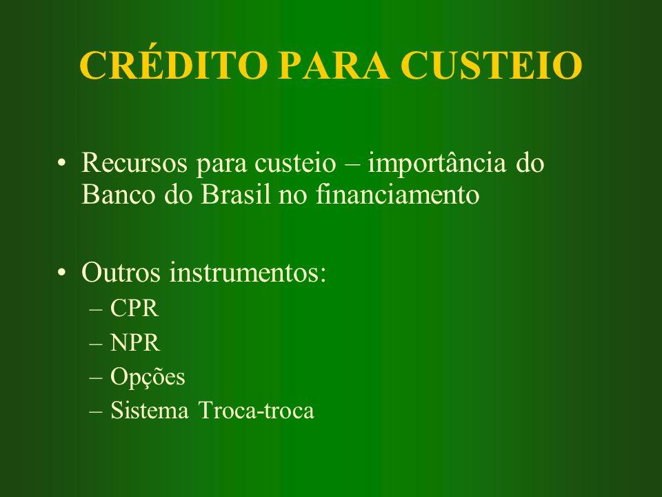 CRÉDITO PARA CUSTEIO Recursos para custeio – importância do Banco do Brasil no financiamento. Outros instrumentos: