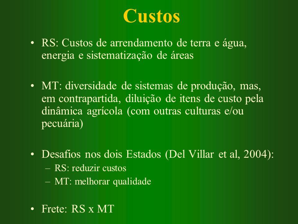 Custos RS: Custos de arrendamento de terra e água, energia e sistematização de áreas.