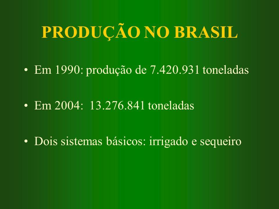 PRODUÇÃO NO BRASIL Em 1990: produção de 7.420.931 toneladas