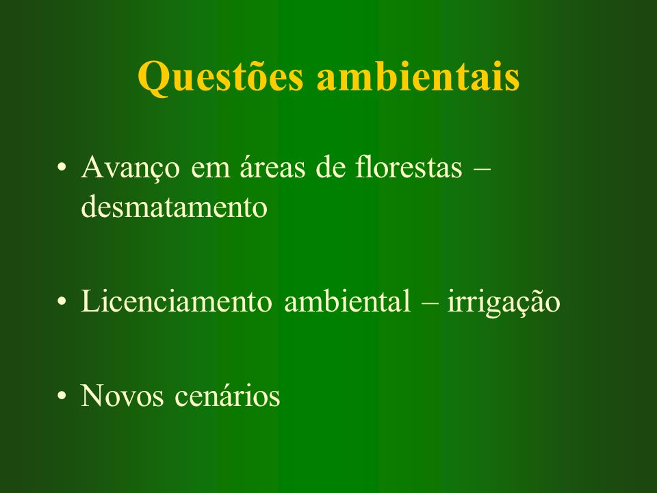 Questões ambientais Avanço em áreas de florestas – desmatamento