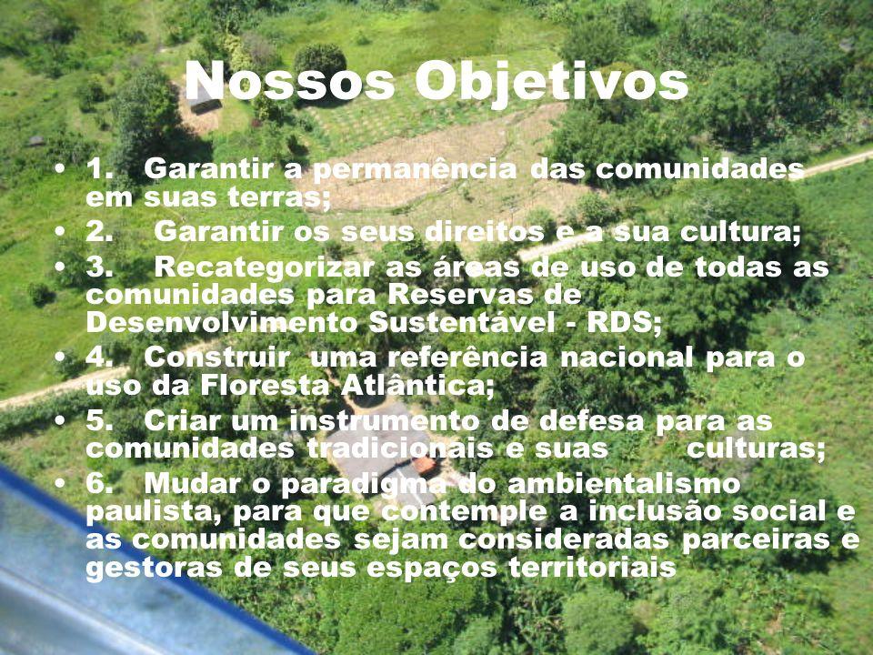 Nossos Objetivos 1. Garantir a permanência das comunidades em suas terras; 2. Garantir os seus direitos e a sua cultura;