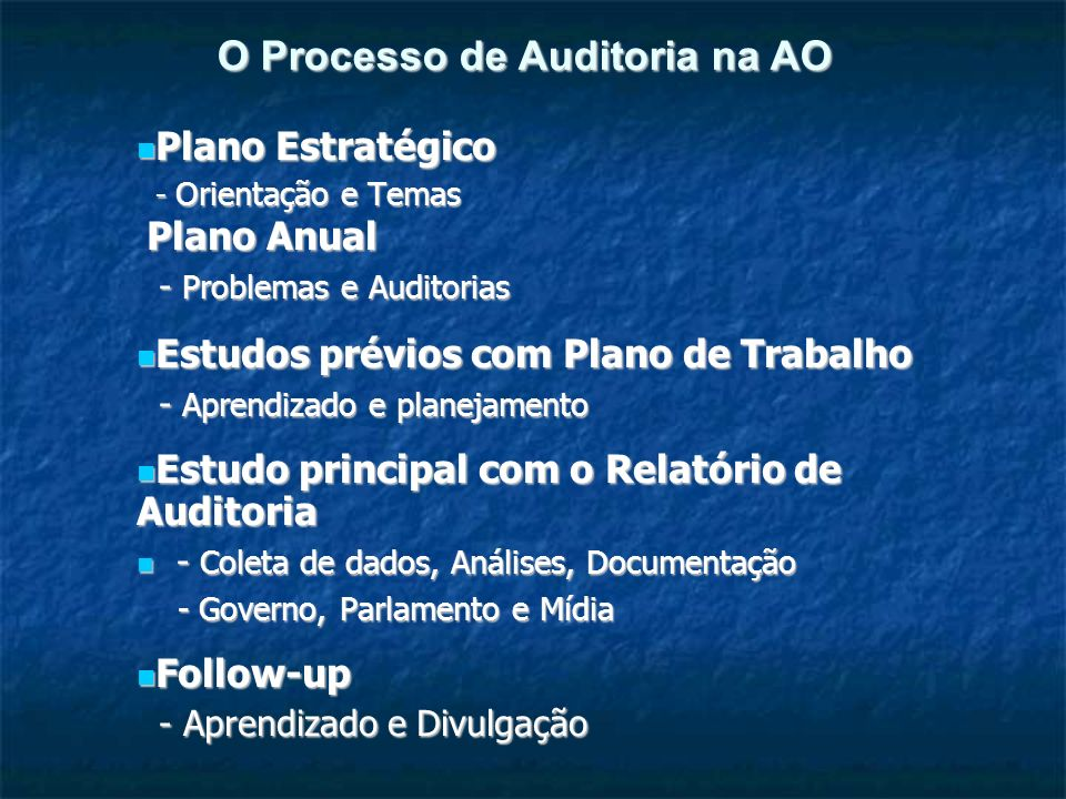 O Processo de Auditoria na AO