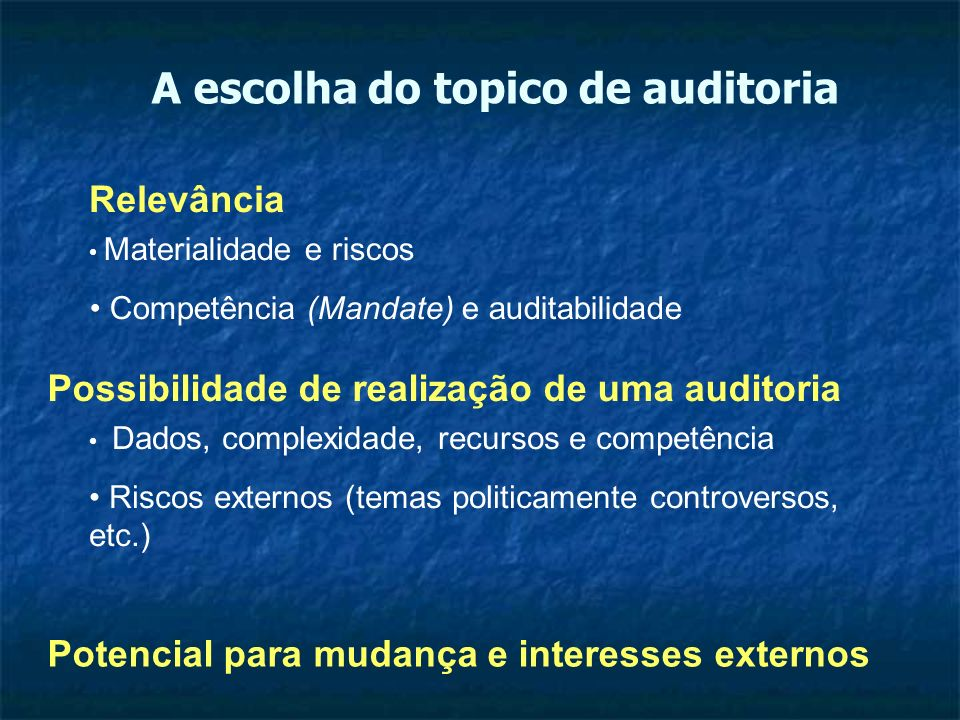 A escolha do topico de auditoria