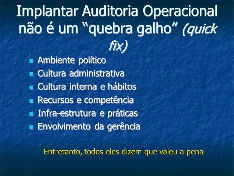 Implantar Auditoria Operacional não é um quebra galho (quick fix)