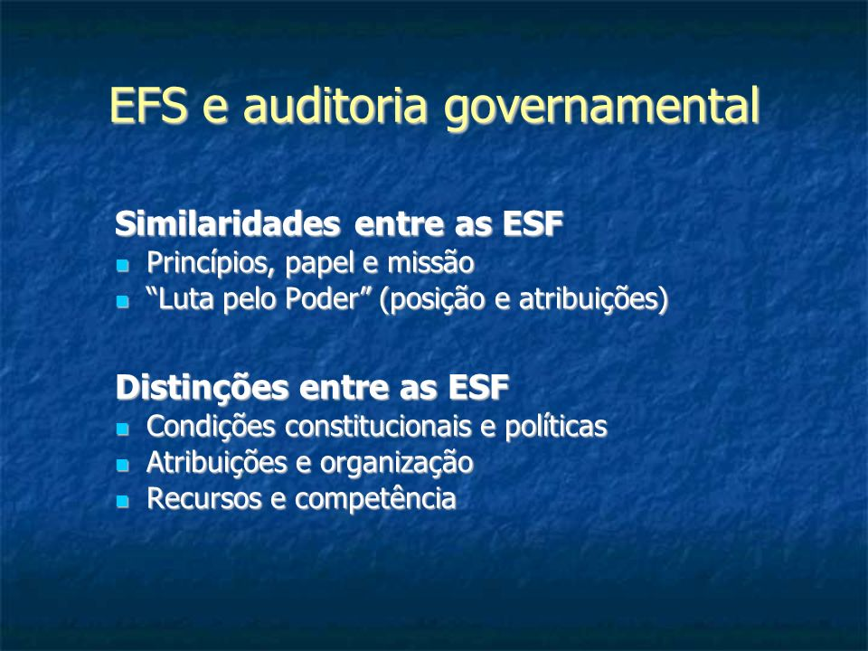 EFS e auditoria governamental