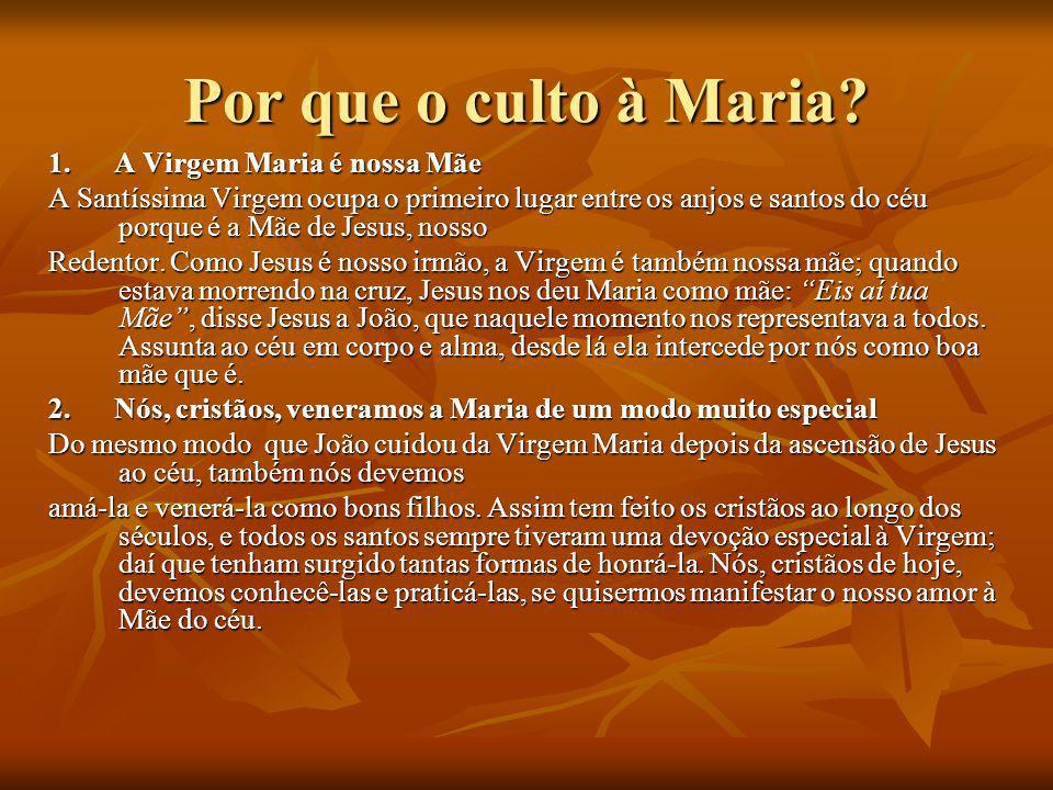Por que o culto à Maria 1. A Virgem Maria é nossa Mãe