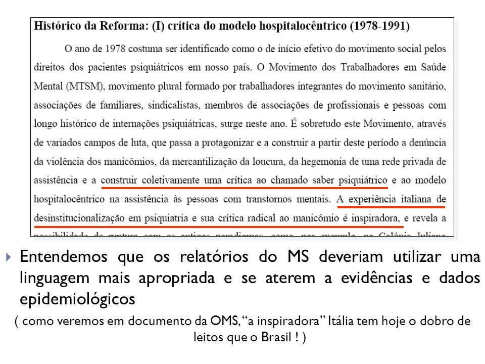 Entendemos que os relatórios do MS deveriam utilizar uma linguagem mais apropriada e se aterem a evidências e dados epidemiológicos
