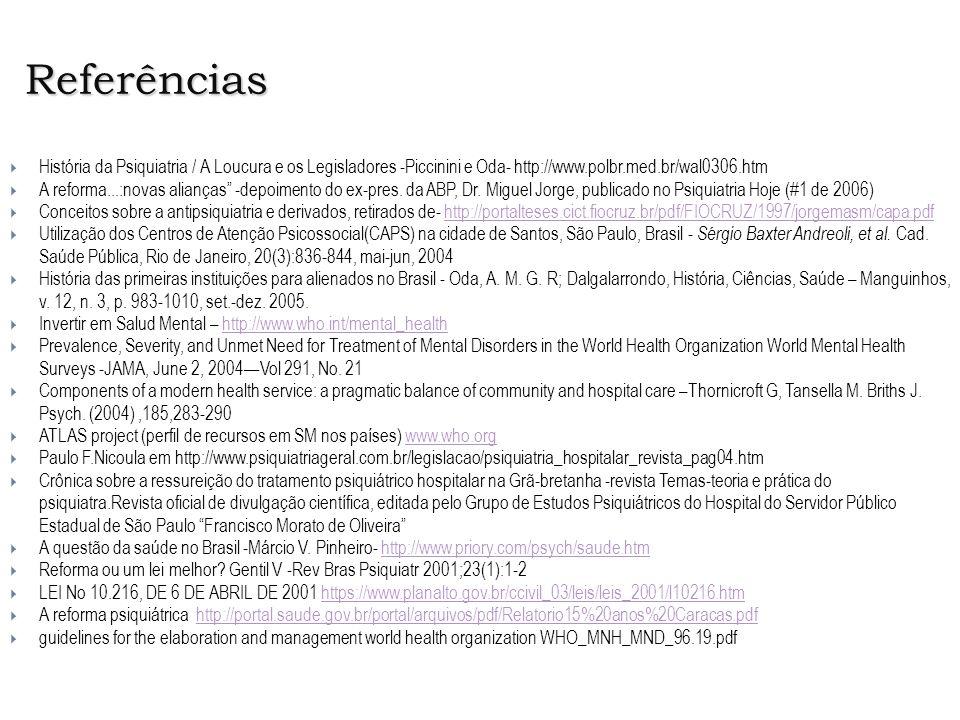 Referências História da Psiquiatria / A Loucura e os Legisladores -Piccinini e Oda- http://www.polbr.med.br/wal0306.htm.