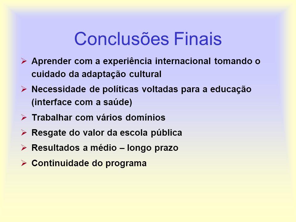 Conclusões FinaisAprender com a experiência internacional tomando o cuidado da adaptação cultural.