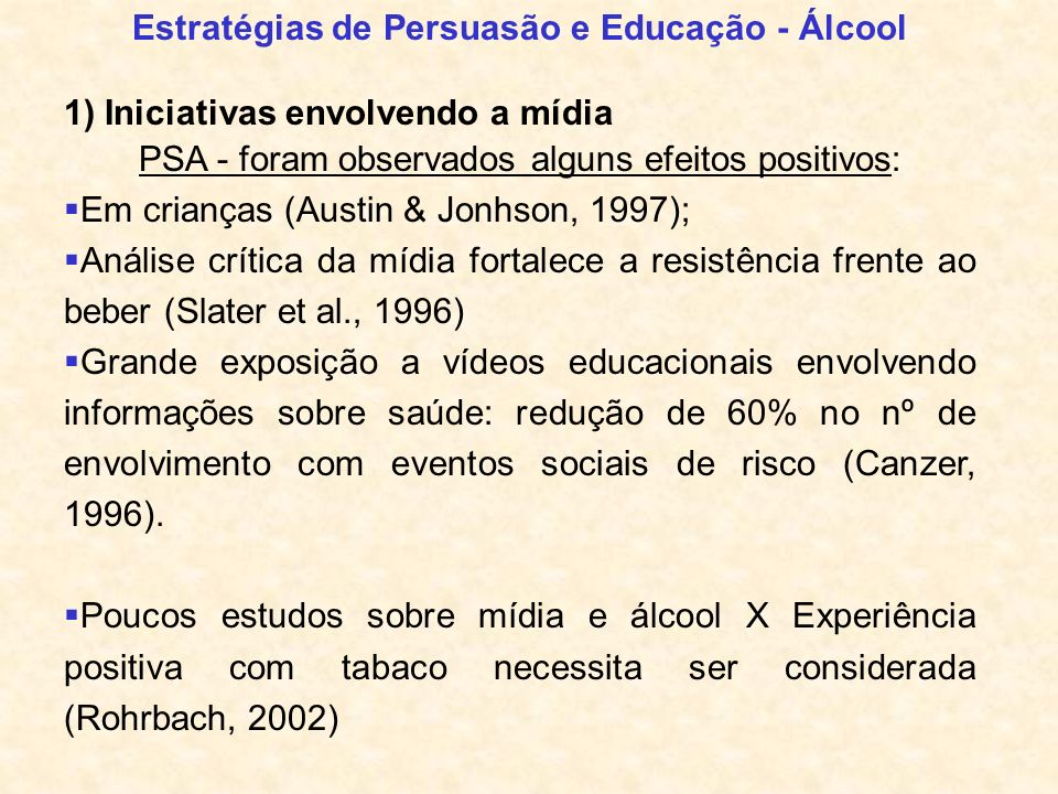 Estratégias de Persuasão e Educação - Álcool