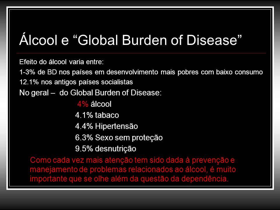 Álcool e Global Burden of Disease