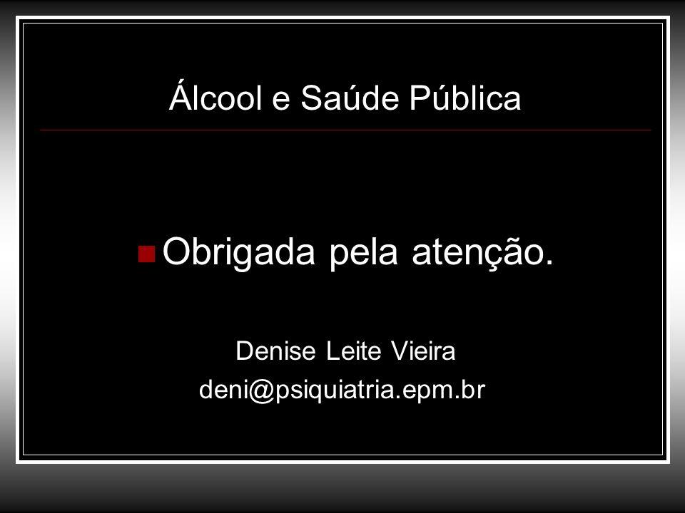 Obrigada pela atenção. Álcool e Saúde Pública Denise Leite Vieira