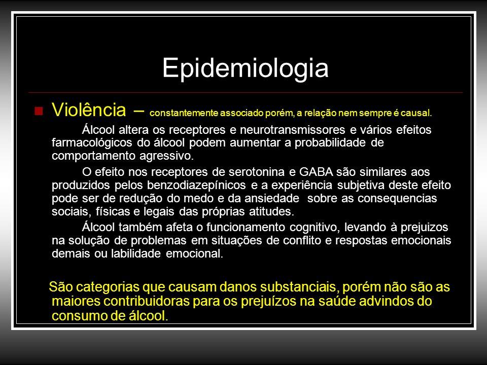 EpidemiologiaViolência – constantemente associado porém, a relação nem sempre é causal.