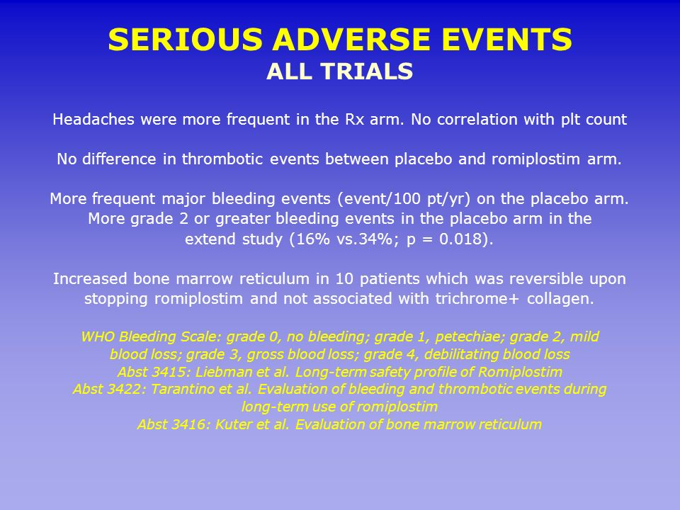 SERIOUS ADVERSE EVENTS ALL TRIALS