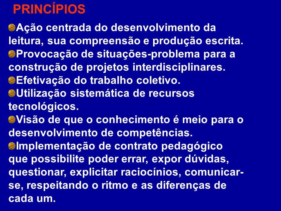 PRINCÍPIOSAção centrada do desenvolvimento da leitura, sua compreensão e produção escrita.