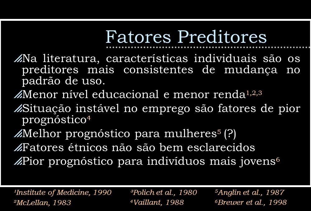 Fatores Preditores Na literatura, características individuais são os preditores mais consistentes de mudança no padrão de uso.