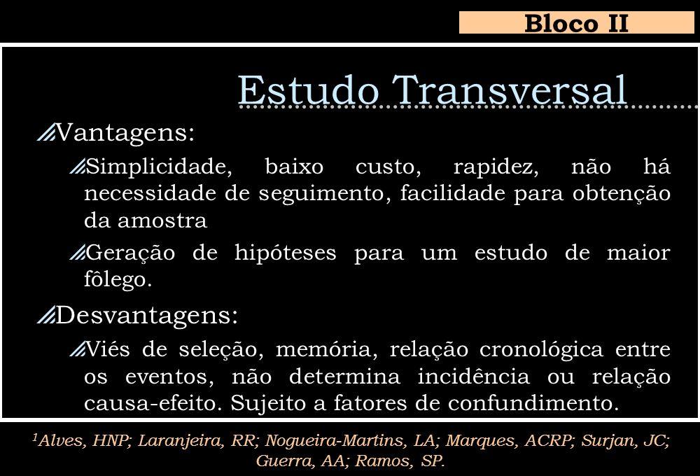 Estudo Transversal Bloco II Vantagens: Desvantagens: