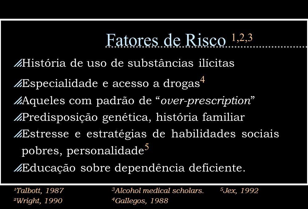 Fatores de Risco 1,2,3 História de uso de substâncias ilícitas