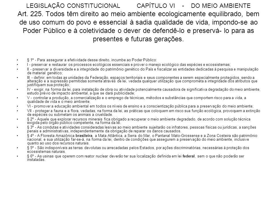 LEGISLAÇÃO CONSTITUCIONAL CAPÍTULO VI - DO MEIO AMBIENTE Art. 225