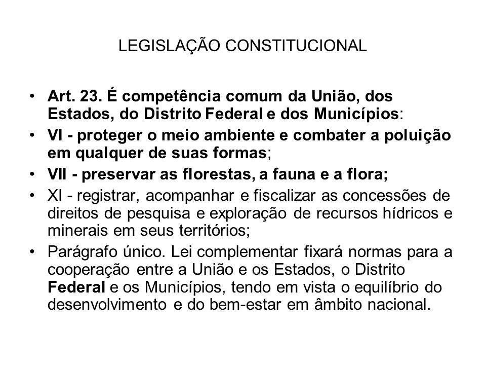 LEGISLAÇÃO CONSTITUCIONAL