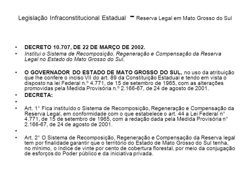 Legislação Infraconstitucional Estadual - Reserva Legal em Mato Grosso do Sul