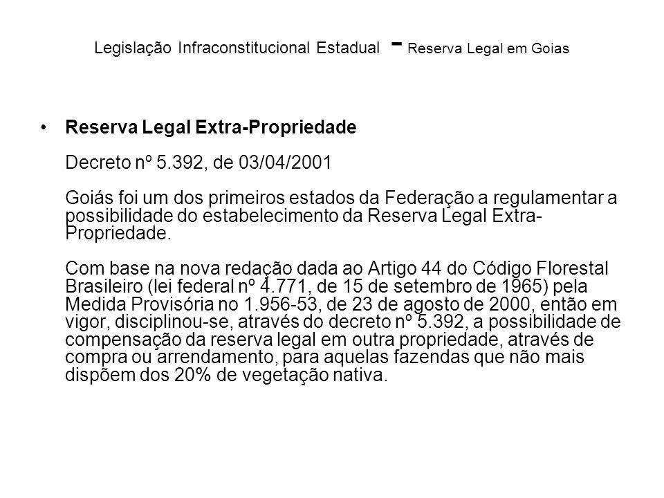 Legislação Infraconstitucional Estadual - Reserva Legal em Goias