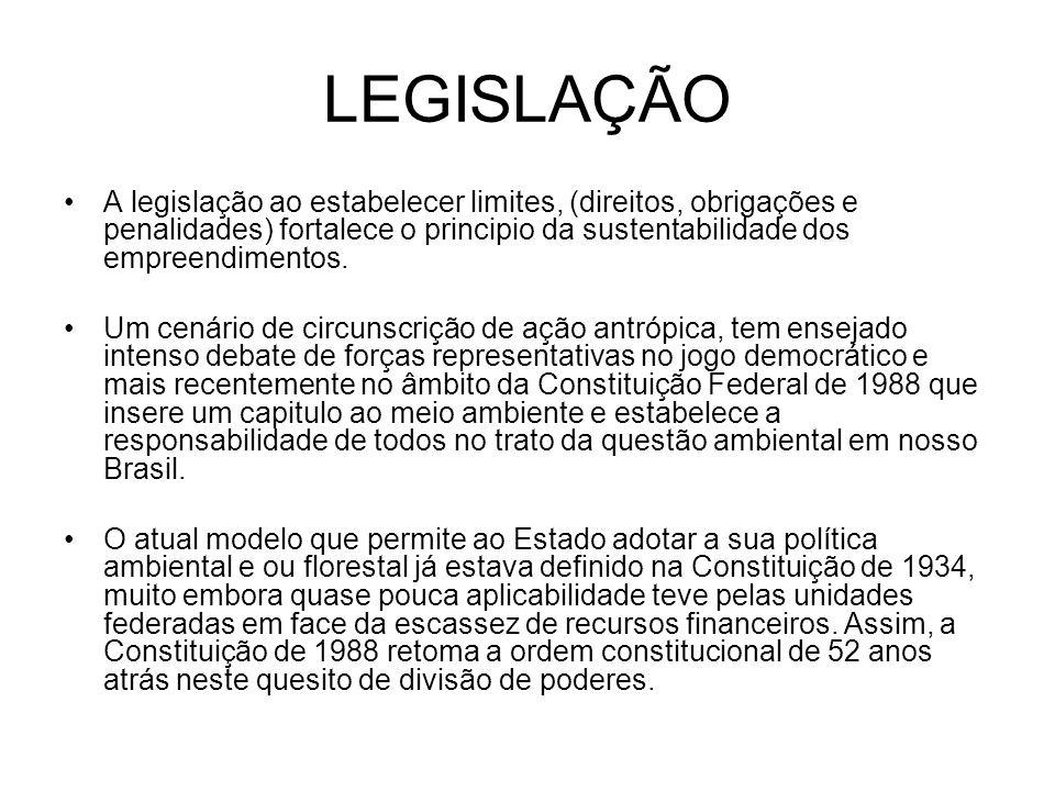 LEGISLAÇÃO A legislação ao estabelecer limites, (direitos, obrigações e penalidades) fortalece o principio da sustentabilidade dos empreendimentos.