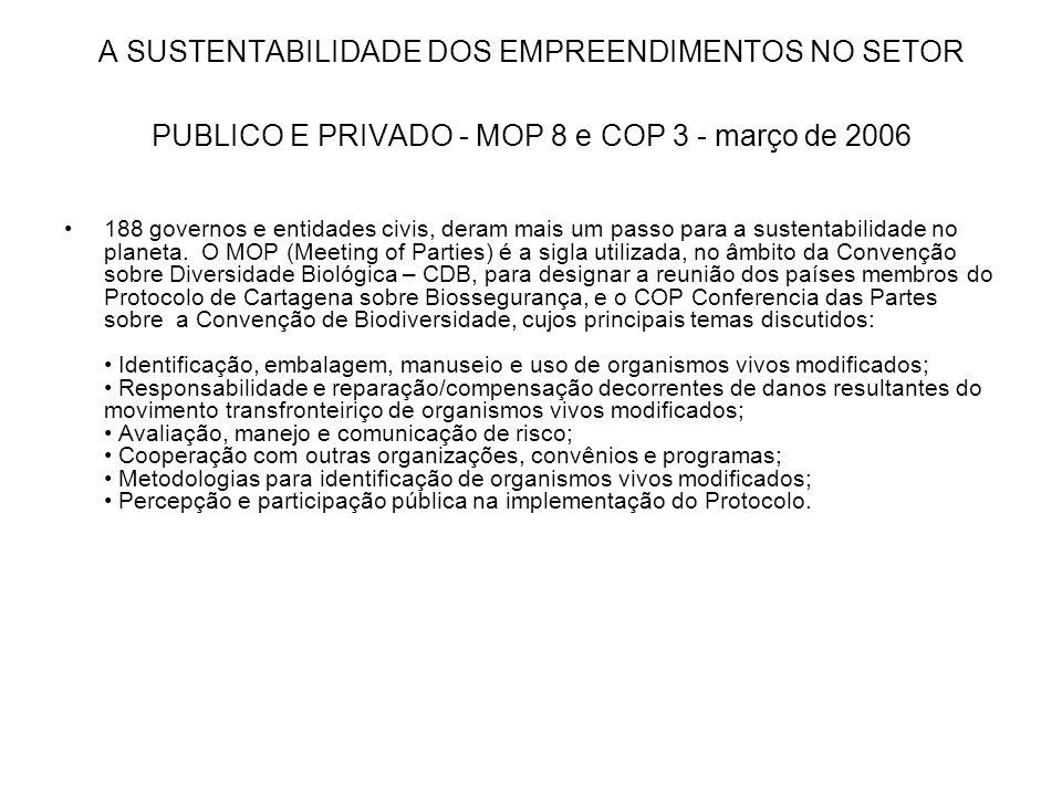 A SUSTENTABILIDADE DOS EMPREENDIMENTOS NO SETOR PUBLICO E PRIVADO - MOP 8 e COP 3 - março de 2006