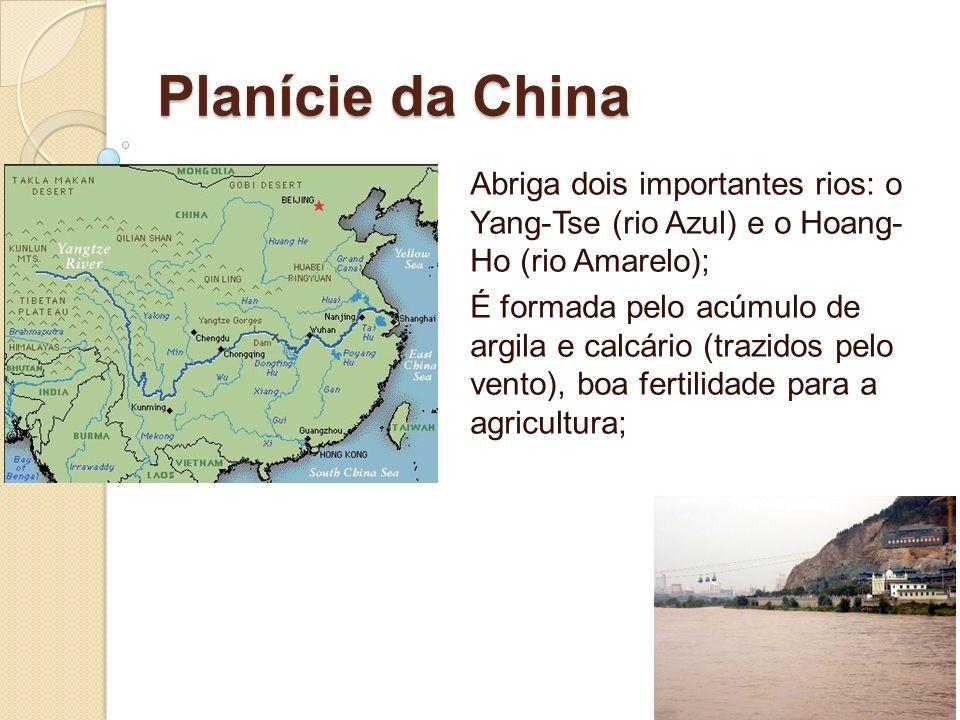 Planície da China Abriga dois importantes rios: o Yang-Tse (rio Azul) e o Hoang- Ho (rio Amarelo);